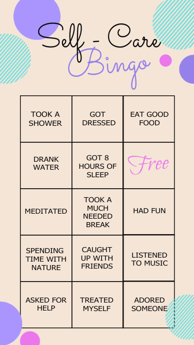 self care bingo, bingo, health, covid 19 Instagram Story template