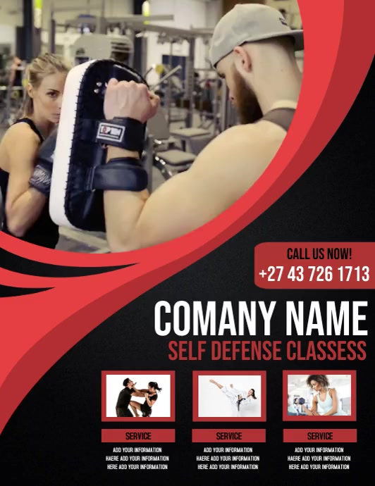 self defense classess Flyer (Letter pang-US) template