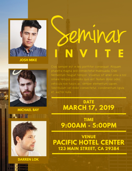 seminar invite flyer customize template