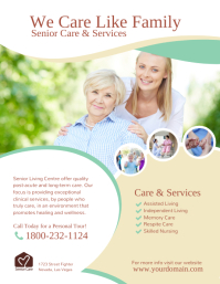 Senior Care & Services Flyer Poster template