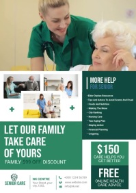 senior care assisted living flyer design A4 template