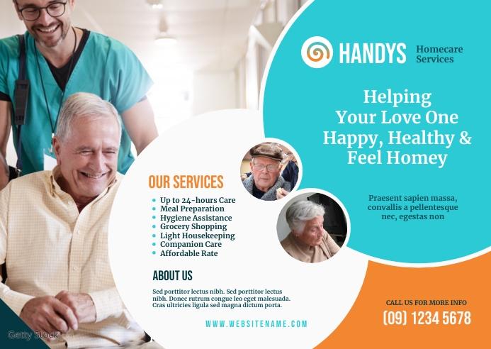 Senior Care Service Postcard template