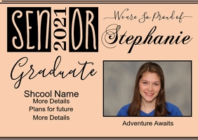 Senior Graduate Photo Postcard template