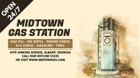 Sepia Gas Station Digital Ad