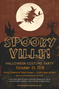 Sepia Halloween Costume Party Poster Template