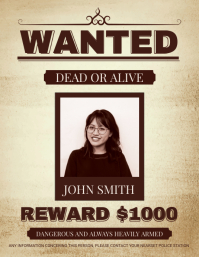 Sepia Wanted Poster Design Flyer (US Letter) template