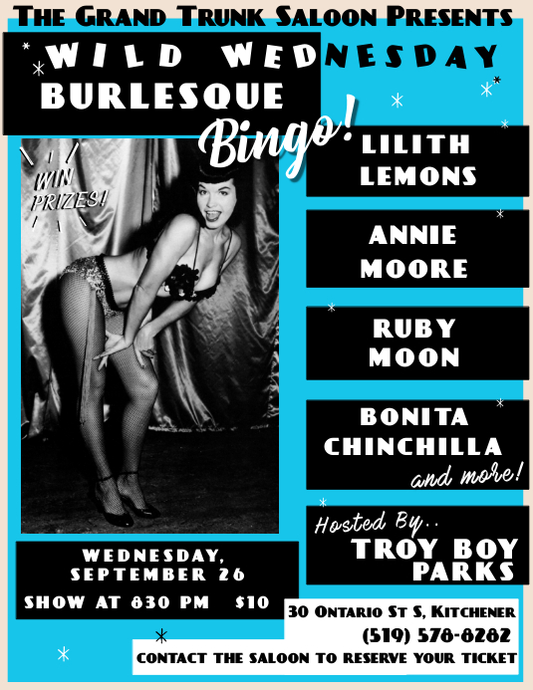 Bingo Burlesque Flyer Volante (Carta US) template