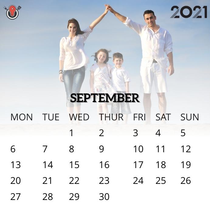 September 2021 calendar Instagram na Post template