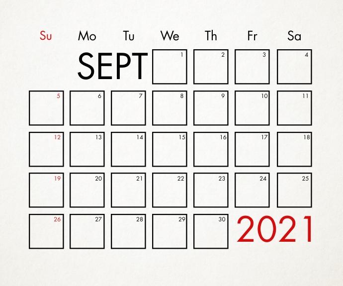 September 2021 Calendar Template Rectángulo Mediano