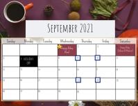 September Calendar Løbeseddel (US Letter) template