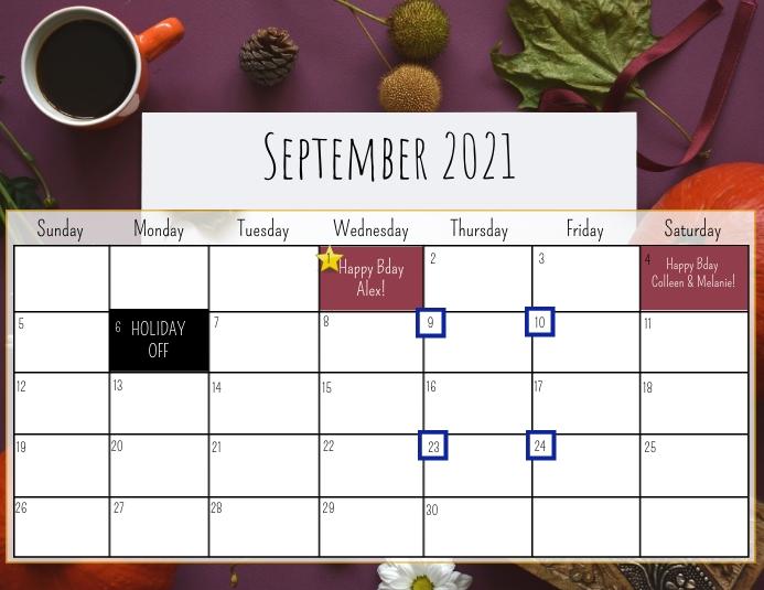 September Calendar Flyer (Letter pang-US) template