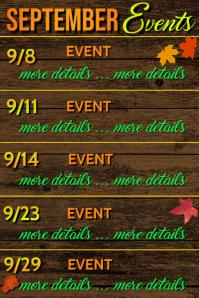 September Calendar of Events Póster template