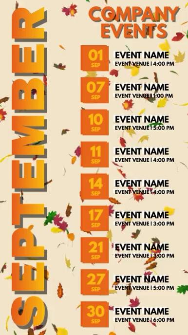 September Events Schedule Video Template Digital Display (9:16)