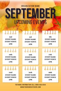 September Fall Upcoming Event Flyer Plakkaat template