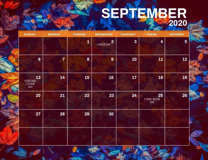 September Monthly Events Calendar Template Flyer (US Letter)