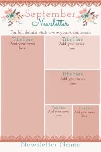 September Newsletter Fall Theme Newsletter โปสเตอร์ template