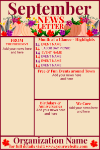 September Newsletter template with Pumpkins Poster