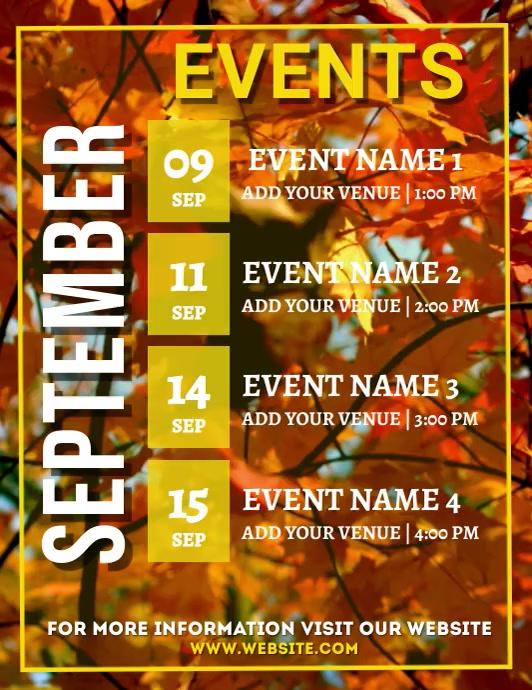 Calendar,September schedule,autumn schedule, event Løbeseddel (US Letter) template