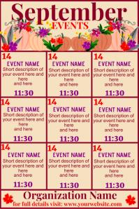 September Upcoming Events Calendar Plakkaat template