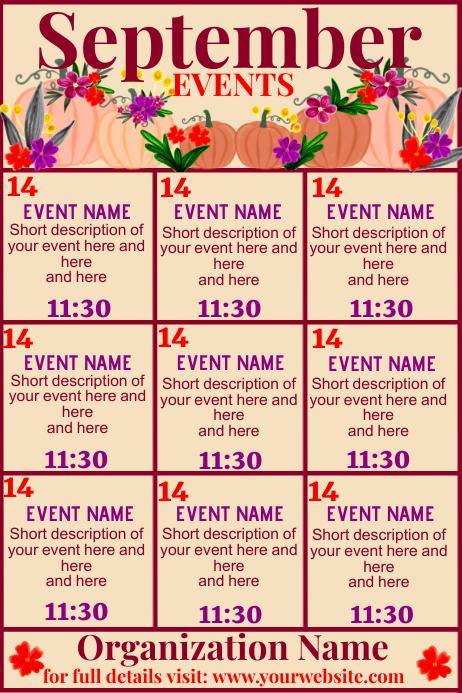 September Upcoming Events Calendar Poster template