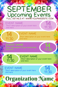September Upcoming Events Плакат template