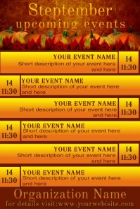September Upcoming Events Video Calendar Poster template