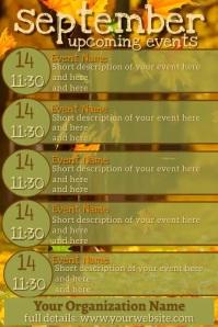 September Upcoming Events Video Calendar Плакат template