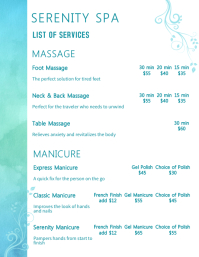 Serenity Spa Price List FlyerTemplate