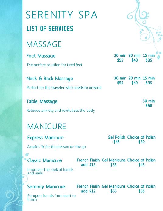 Serenity Spa Price List FlyerTemplate