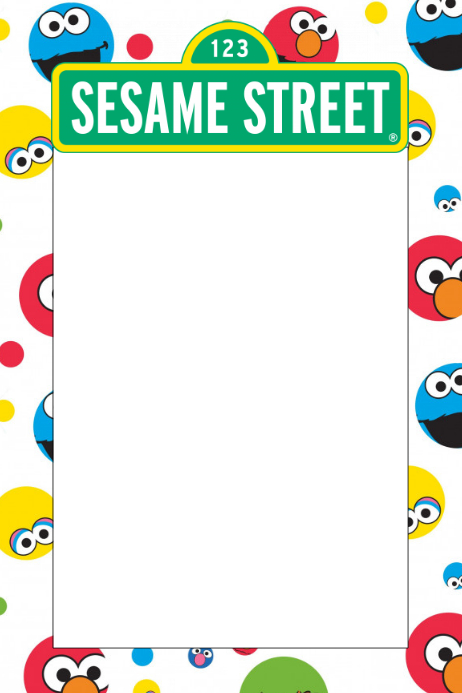 sesame street party prop frame template postermywall