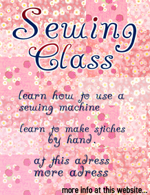 Sewing class - flyer template with pink floral patchwork