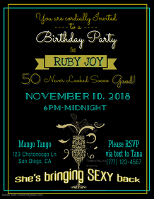 Sexy 50th Birthday Flyer Template