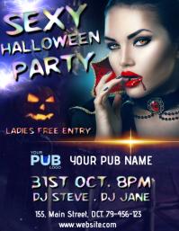 Sexy Halloween Bar Design Pamflet (Letter AS) template