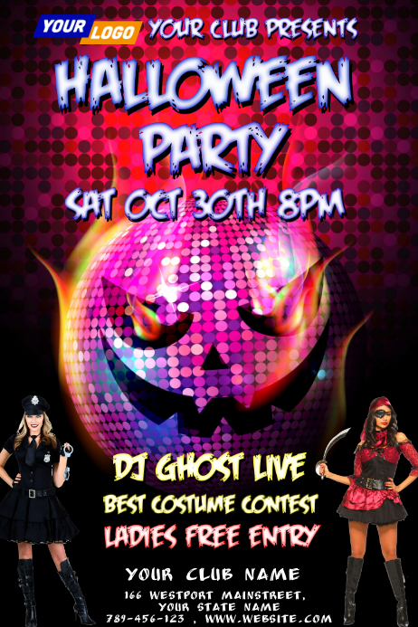 Sexy Halloween Bar Party Póster template