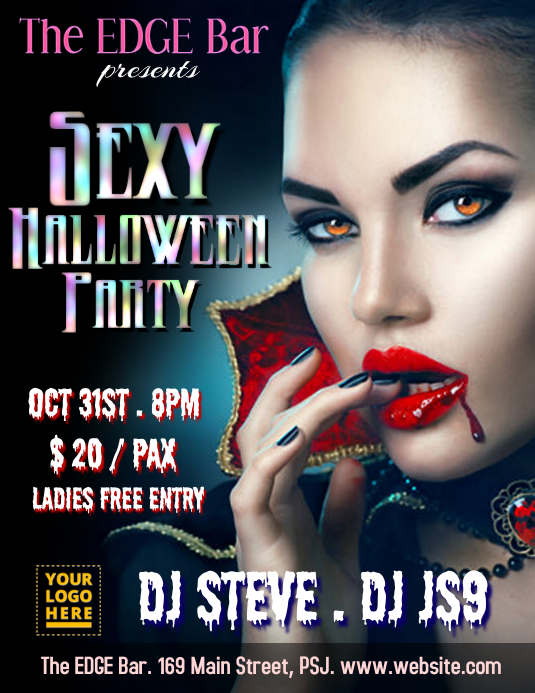 Sexy halloween bar party flyer ใบปลิว (US Letter) template