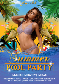 sexy pool party A4 template