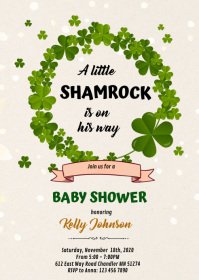 Shamrock birthday baby shower invitation A6 template