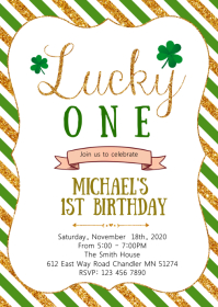 Shamrock birthday party invitation A6 template