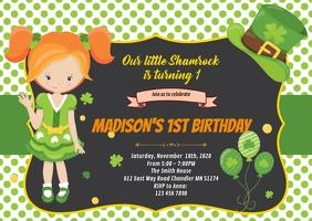 Shamrock birthday party invitation