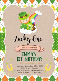 Shamrock birthday party invitation A6 template