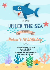 shark baby shower boy invitation A6 template