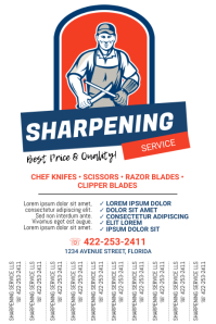 Sharpening Service tear off tabs flyer 海报 template