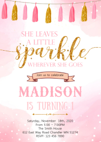 She leaves a little sparkle birthday invitati