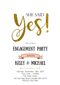 She said yes party invitation