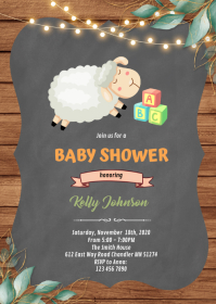 Sheep and baby block theme Invitation A6 template