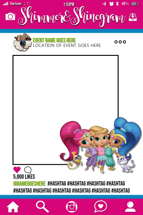 Shimmer Shine Party Prop Frame Template Postermywall