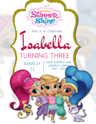 Shimmer &Shine Kids Party Invitation Template