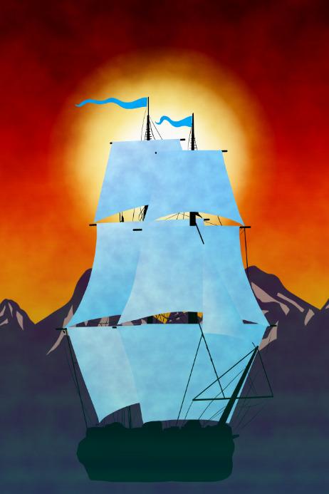 ship like a HMS 18 century royal navy frigate - boat