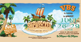 Shipwrecked VBS Flyer Anúncio do Facebook template