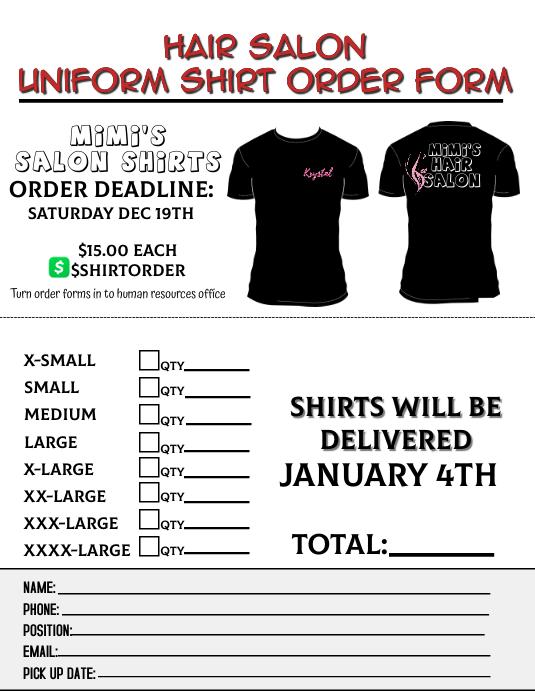 shirt order form Pamflet (Letter AS) template